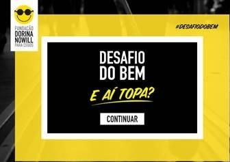 """Descrição de imagem: imagem com borda amarela e, ao centro, um quadrado preto com o texto """"Desafio do Bem, e aí topa?"""" e um botão escrito """"Continuar""""."""