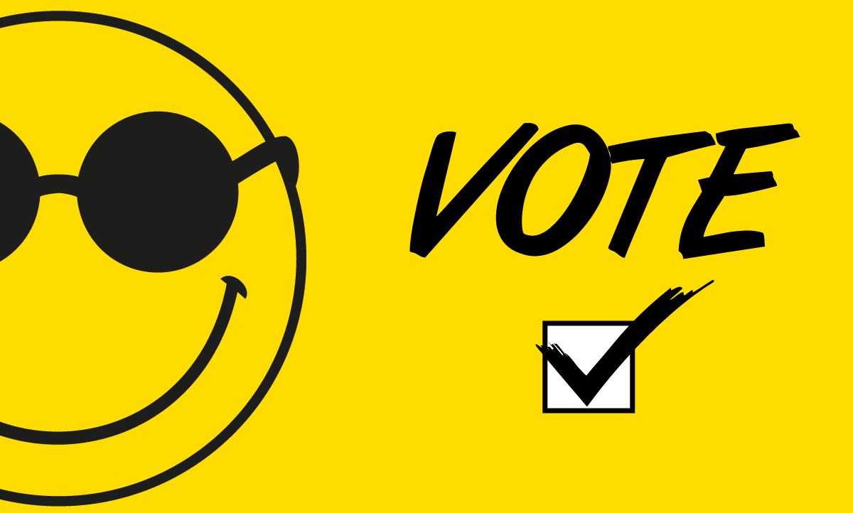 """Banner com fundo amarelo, à esquerda metade do rosto do smile e ao lado direito a palavra em preto """"vote"""" e abaixo um quadrado branco marcado em V na cor preta."""