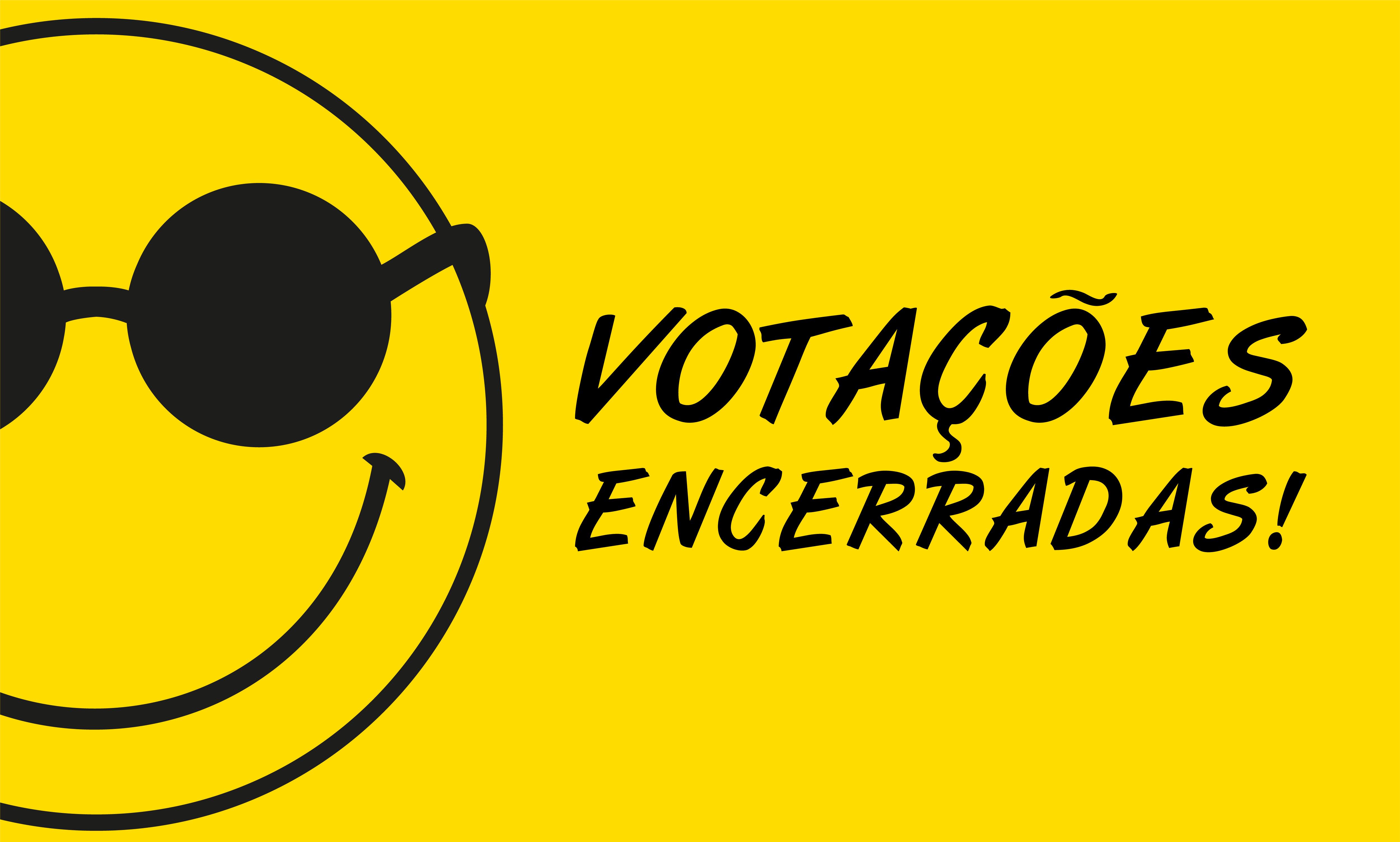 """Banner amarelo com smile de óculos escuros à esquerda e a frase m preto """"Votações encerradas"""""""