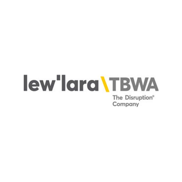 Descrição da imagem: logotipo da Lew'Lara TBWA