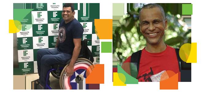 Descrição da imagem: fotos em formato circular de Héliton Nascimento e Ednilson Sacramento. Ao redor da imagem há pequenos círculos nas cores laranja, amarelo e verde.