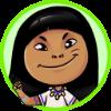 Descrição da imagem: Desenho de uma menina de cabelos pretos escuros. Ela tem uma franja e está retratada do ombro para cima.