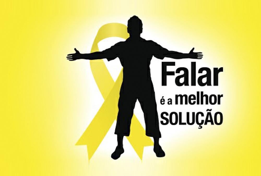 """Descrição da imagem: banner virtual com a silhueta de uma pessoa de braços abertos sobre fundo amarelo. Atrás dela há uma fila amarela que simboliza a campanha Setembro Amarelo. ao lado direito, a frase """"Falar é a melhor solução""""."""