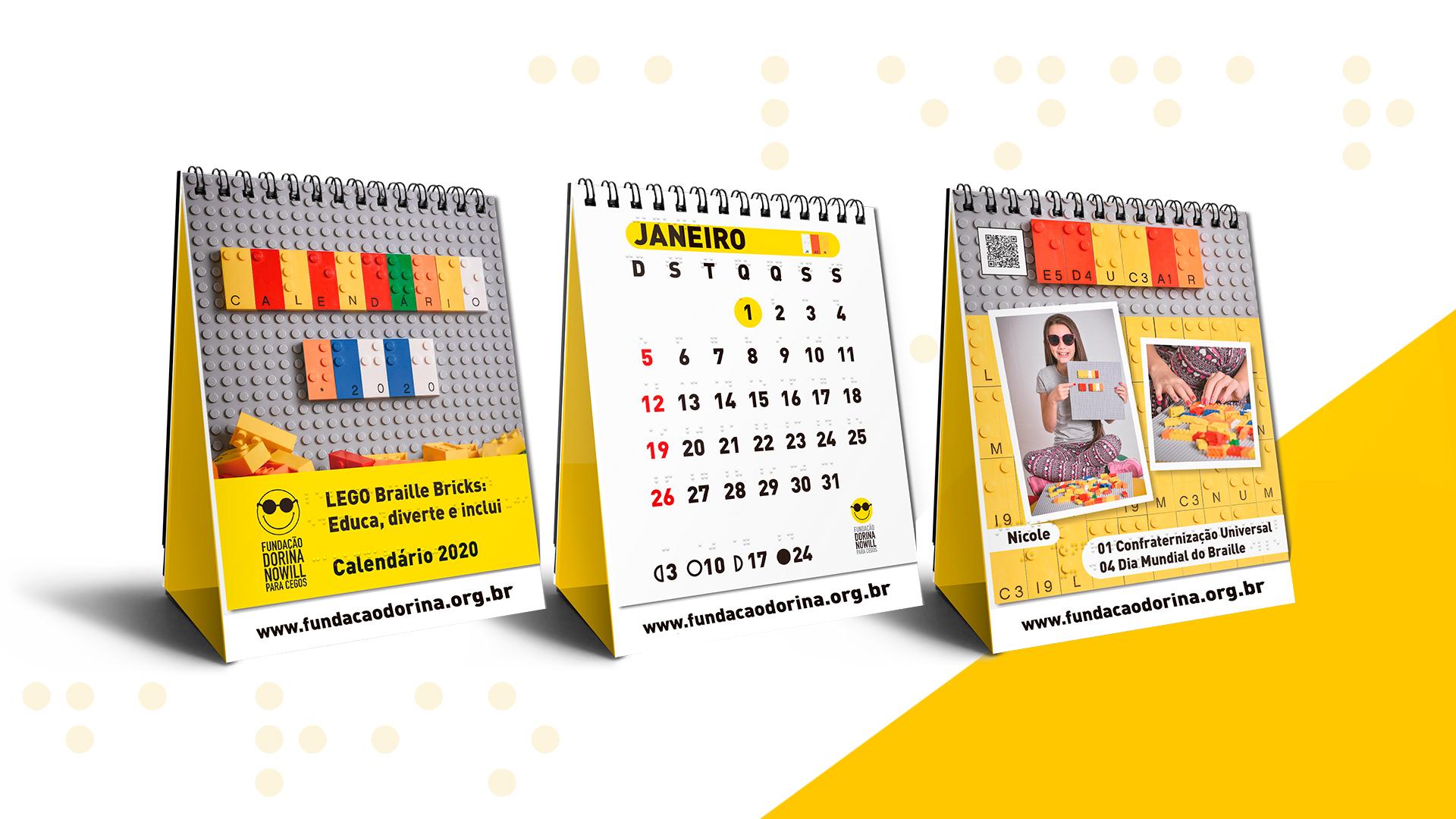 Descrição da imagem: foto de três calendários 2020 da Fundação Dorina sobre fundo branco.